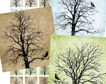 Instant Download - Birds of Peace on Trees (1 x 1 Inch) Altered Images Digital Collage Sheet printable sticker magnet button commercial  1""