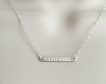 Tiny Skinny Sterling Silver Bar Necklace. Coordinates. Roman Numerals Necklace. Dainty Layered Necklace. Engraved Name Necklace. Minimal Bar