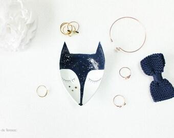 """Coupelle porte-bijoux Renard bleu nuit et doré """"Blue Night fox"""""""