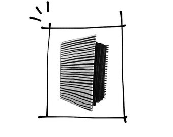 Handmade black and white stripes sketchbook with black pages