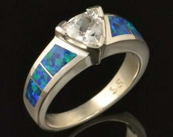 Lab Created Opal Engagement Ring with Trillion White Sapphire