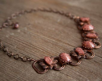 Vintage Copper & Goldstone Necklace ~ Sparkly Retro Jewelry Fashion ~ Rustic Boho Filigree Adjustable Choker ~ Gift Idea for Her