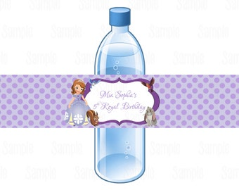 Printable Sofia The First Water Bottle Labels