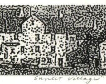 Sunlit Village, signed fine art etching