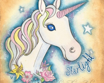 Art Print - Starlight the Unicorn Cute Kids Kawaii Pastel Goth Star Bedroom Decor Flowers Dazzling Horse Pink Pretty UK Poster Picture
