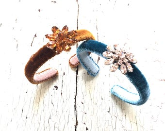 Narrow Adjustable Velvet Cuffs with Rhinestones - Amber or French Blue