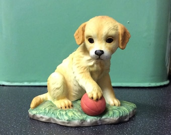Royal Osborne Golden  Labrador Puppy With Red Ball Porcelain Figurine, Model TMR7487, Hand Painted, Cute Puppy Dog Vintage Figurine