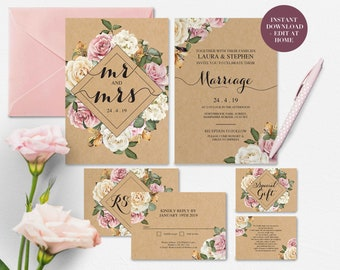 Rustic Floral Wedding Invitation | Rustic Wedding Template | Stunning Floral Invite | Downloadable Template | DIY | Invite, RSVP, GiftCard