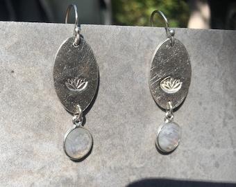 Moonstone Earrings Yoga Earrings Lotus  Earrings Rainbow Moonstone Silver Drop Earrings and set in 92.5 silver wedding earring