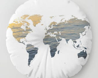 "World Map - Sea Texture FLOOR Pillow, Round 26"" and 30"", Floor Cushion, Dorm,Teen Decor,Office,Home Statement Piece, Trend, white, college"
