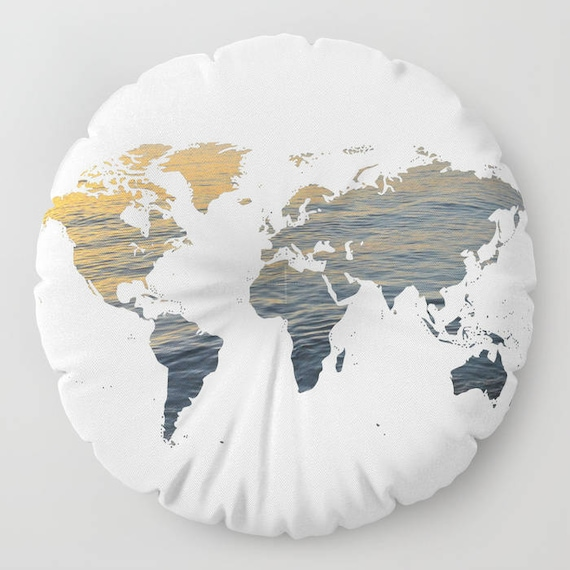 """World Map - Sea Texture FLOOR Pillow, Round 26"""" and 30"""", Floor Cushion, Dorm,Teen Decor,Office,Home Statement Piece, Trend, white, college"""