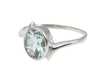 Blue topaz 92.5 sterling silver ring size 9 us