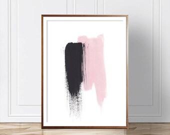 Pink Abstract Print, Abstract Art, Abstract Wall Art, Scandinavian Decor, Watercolor ,Print, Modern Art, Abstract Print, Pink Black Print