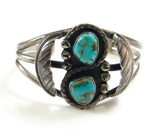 Mexican Mexico Turquoise Cuff Bracelet Sterling Silver 197 Eagle Mark