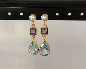 Blue topaz, iolite and pearl earring