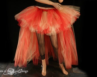 tutu skirt Flame Dancer Wedding Formal  extra poofy trail Red gold Adult -- You Choose Size -- Sisters of the Moon Halloween