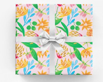 Gift Wrap • Pink, Blue, Orange and Green Bold Floral Print • Set of 5 Sheets