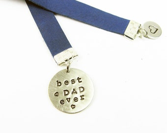 Dad Bookmark - Best Dad Ever - Stamped Blue Leather Bookmark for Father's Day Gift