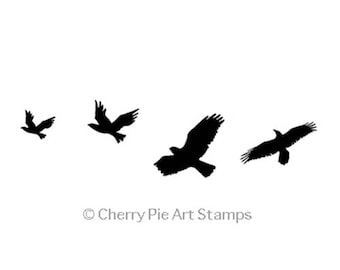 Flying CRoWs, RaVeNs, eagles, hawks, birds - CLiNG rubber STAMP E203