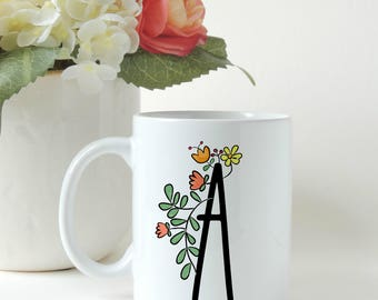 Monogram Mug, Personalized Mug, Custom Mug, Letter Mug, Gift for Her, Custom Gift, Friend Gift, Coffee Gift, Gift Mug, Coffee Mug,
