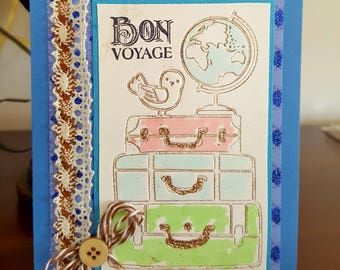 Bon Voyage Card * Safe Travels Greeting Card with Suitcases * Enjoy Your Vacation Travel Card * Handmade Embellished World Travels Card