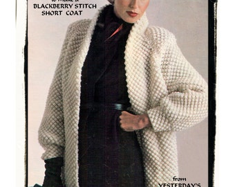 Instant Download PDF KNITTING PATTERN to make a Womens Loose Fit Bramble Stitch Short Coat or Jacket 10 Ply Yarn 2 Sizes up to 40 inch Bust