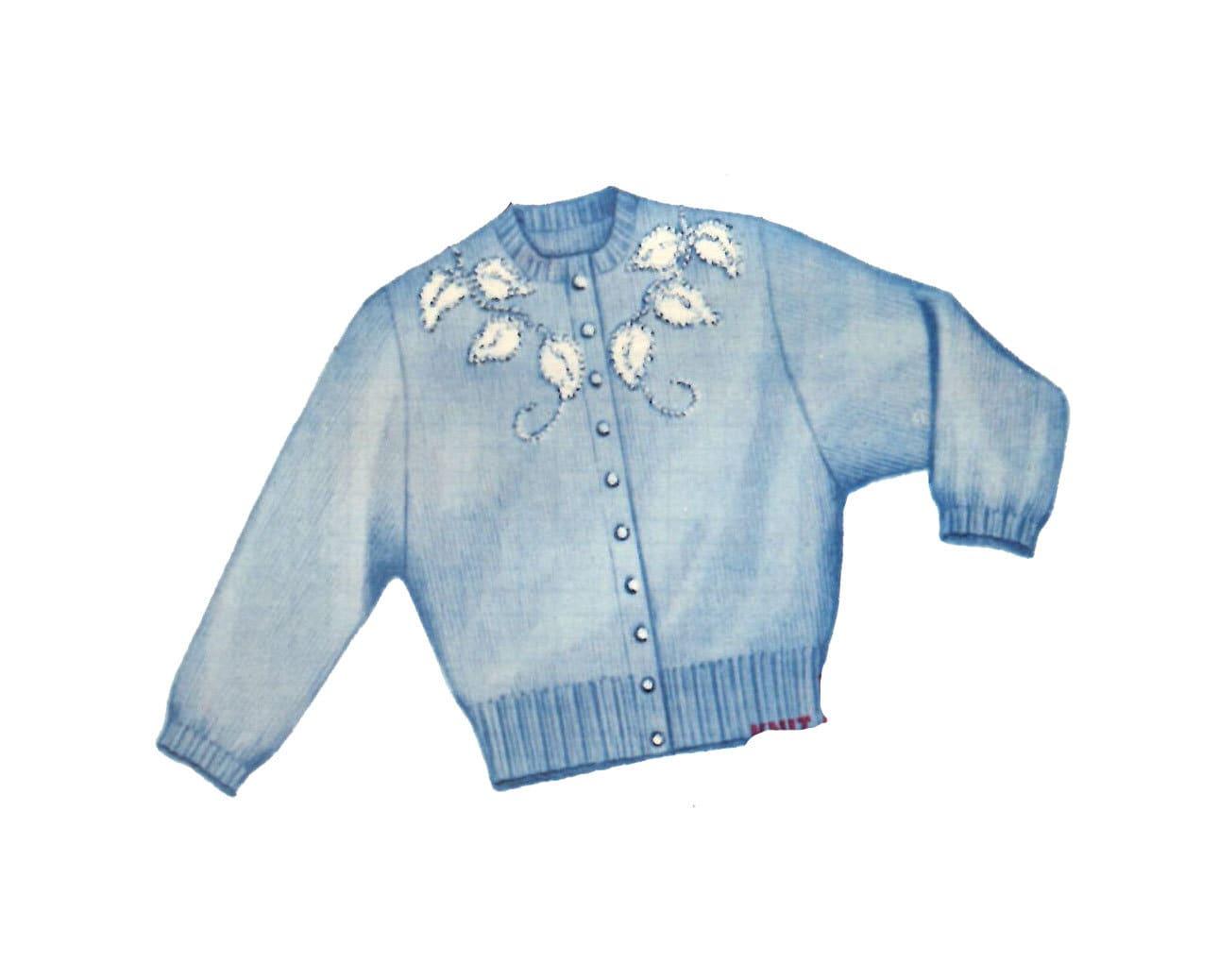 Ladies Sweater PATTERN Plaid front Leaf yoke Knit O Graf 217