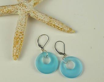Blue sea glass earrings blue earrings lever back earrings sterling silver leverbacks beach glass jewelry sea glass christmas gift ideas mom