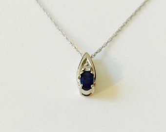 Blue sapphire/diamond pendant, 14k white gold with 18: fine cable chain; 1.6 grams,prong-set; Gift for her, September birthstone
