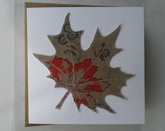 Original Textile Art Hand Made Sycamore Leaf Greetings Card