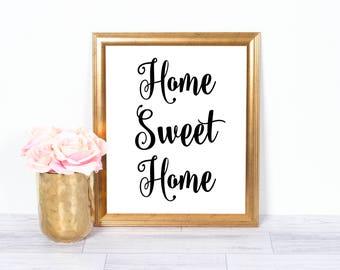 Home Sweet Home, Kitchen Art, Motivational Poster, Inspirational Wall Art, Office Art, Printable Art, Wall Decor, 8x10