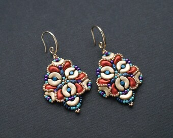 Colorful Dangle Earrings, Bollywood Style Earrings, Gold and Orange Earrings, Luxurious Earrings, Boho Chic Dangles, Purple Wedding Earrings