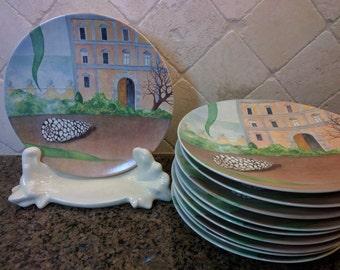 Gien France plates, Le Palais, Il Etait Une Fois plates, collectible French plates, Gien France Once Upon a Time