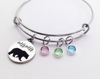 Mama Bear Bracelet, Mom Gifts, Mothers Day Gift for Mom, Birthstone Bracelet, Mom Jewelry, Birthstone Bangle, Mom Birthday Gift Gift for Mom