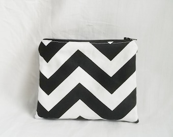 Makeup bag - Personalized Chevron Pouch - Bridesmaid clutches - Cosmetic Bag - Small