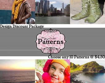 Discount Crochet Pattern Package. Choose any 10 patterns at 4.50