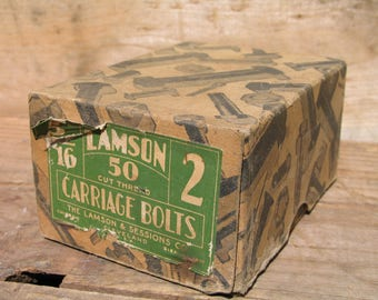 Antique Carriage Bolts Empty Box 1935 Lamson's and Sessions Co Cleveland OH