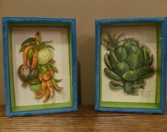 Vintage 1970's Decoupage Art, Thayer Artichoke, Onions and Peppers, Hand crafted Original Wall Art, Vegetable Kitchen Art