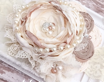 Ivory Champagne Flower Girl Wedding Headband, Custom Baby Headband, Headband Photo Prop, Baby Christening Headband, Gift For Baby Girl