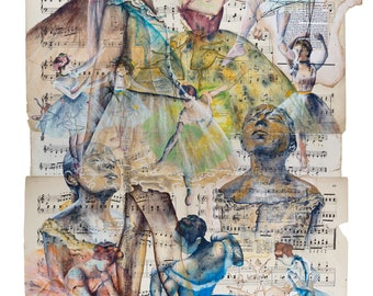 Digital download print. Homage to Degas. Ballet art print. Ballet wall art. Degas' Ballerinas original mixed media artwork on music pages.