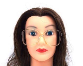 oversized. eyeglasses. vintage. for women. for men. women. men. plastic. eyeglass frames. eye glasses. clear. gray. square.