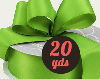 "Satin Kiwi Green Ribbon - 7/8"" wide at 20 yards"