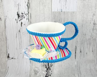 Rainbow Stripe and Aqua with Yellow Petit Four Tea Cup Fascinator Hat, Alice in Wonderland Mad Hatter Tea Party, Derby Hat