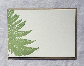 Green Fern Letterpress Notecards, Set of 8