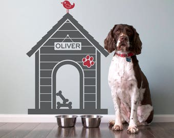 Dog House Wall Decal: Personalized Pet Name Room Sign Puppy Decor Kids Dog Theme Room Modern Indoor Dog House (SIZE MEDIUM)