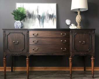 Sold Vintage Traditional Buffet, Black Modern Sideboard, Dining Room  Storage, Antique, Solid Wood Cabinet, Entertainment Console