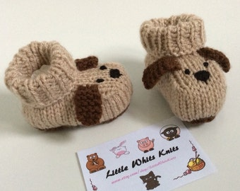 Dog knitted baby booties knitted baby shoes puppy baby boots hannade baby gift unisex boys girls knitted socks