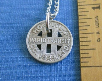 HONOLULU Coin Pendant Necklace - Repurposed / Upcycled Vintage 1924 Rapid Transit Token