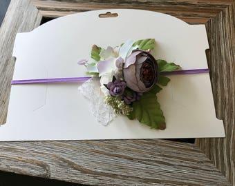 Dainty floral halo, purple headband, floral on elastic, purple flower headband, little purple flower bow, newborn prop, newborn photography