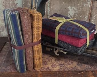 "Fabric: Bundle ""Half Yards"" Flannel Sampler (3pc) Wool & Needle, Hollly Taylor"